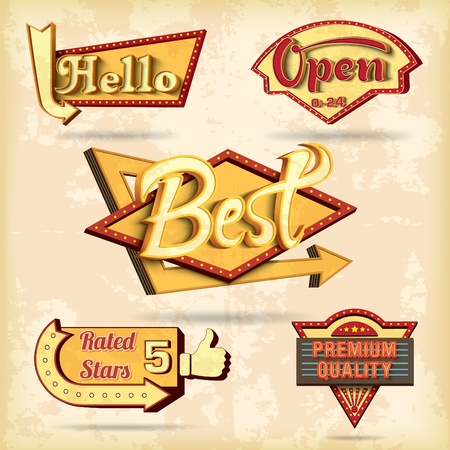 Retro boards design set  Vector illustration