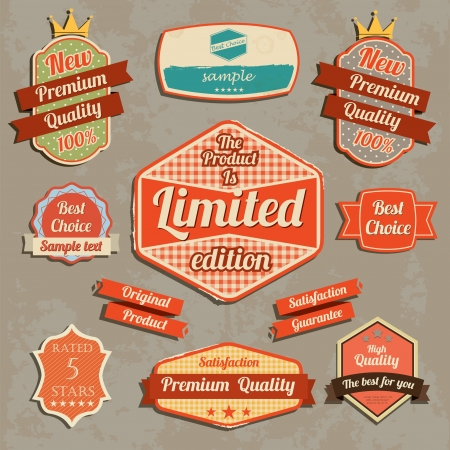 Retro design label set  Vector illustration