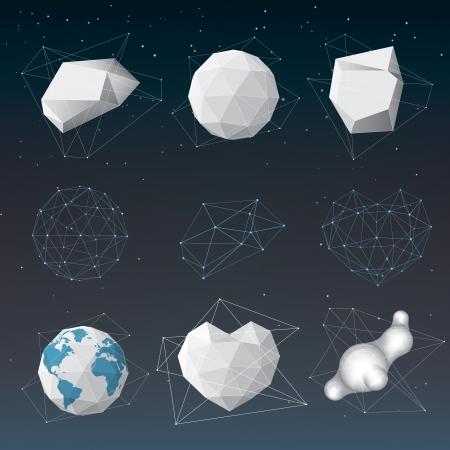Vector abstract geometrical shape set Illustration