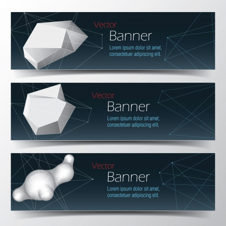 Geometrical banner set  Vector abstract background Illustration