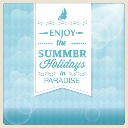 ocean background: Summer holiday card design  Vector illustration