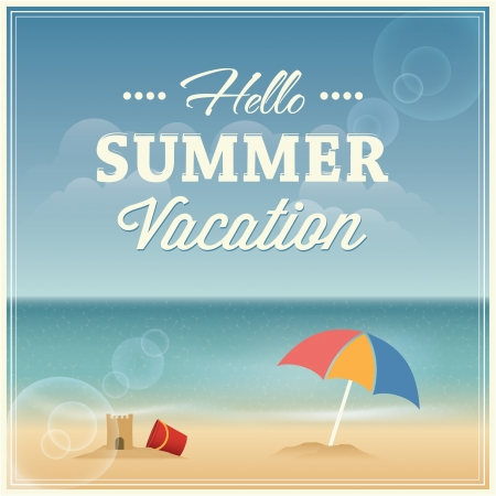 Summer vacation greeting card design  Vector illustration