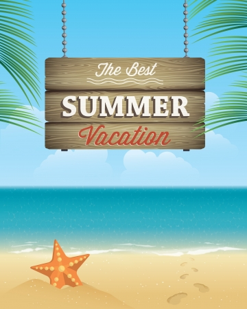 paradise beach: Summer vacation greeting card  Vector illustration