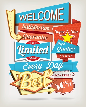 positive thought: Vector background with badges and labels Illustration