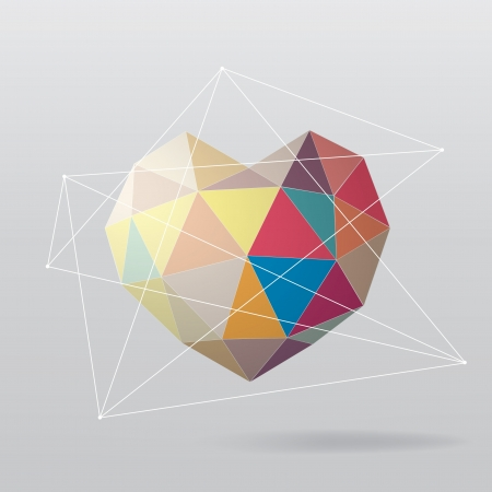 Colorful geometrical heart  Abstract background 向量圖像