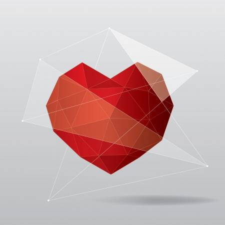 Red geometric heart background