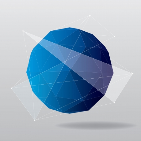 Blue globe geometrical background  Vector illustration