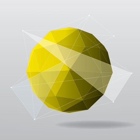 Yellow globe geometrical background  Vector illustration