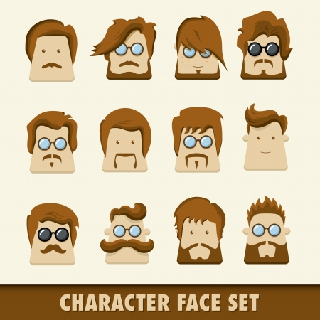 Men character icon set  Vector illustration