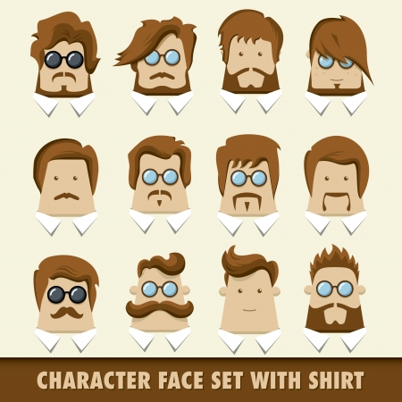 Men character icon set with shirt  Vector illustration
