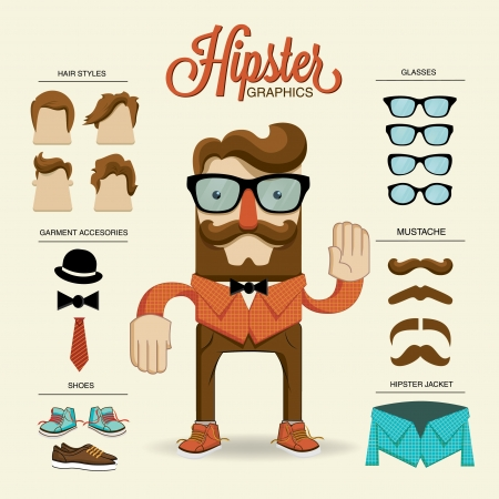 Hipster character, vector illustration with hipster elements and icons Vector