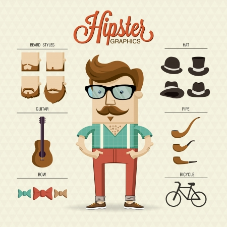 Hipster character illustration with hipster elements and icons