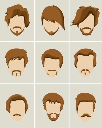 men at work sign: Mustache, beard and hair style icon set Illustration