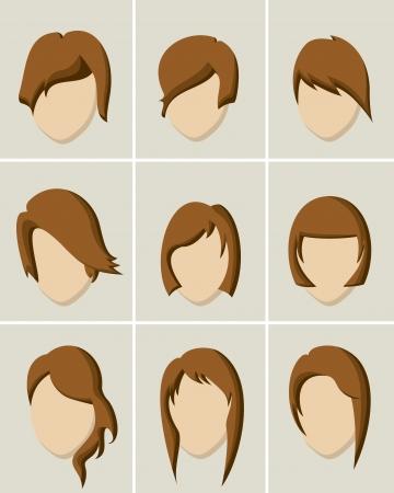 hair style: Women hair style icon set