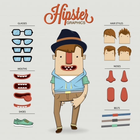 personnage: Illustration du caract�re Hipster avec des �l�ments de caract�res et les ic�nes Illustration