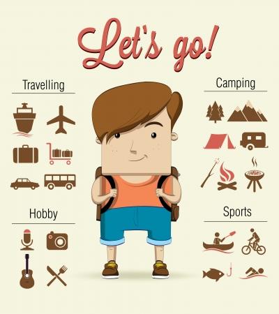 Camping boy character  Vector illustration Vector