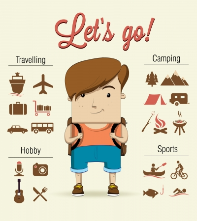 man outdoors: Camping boy character  Vector illustration Illustration