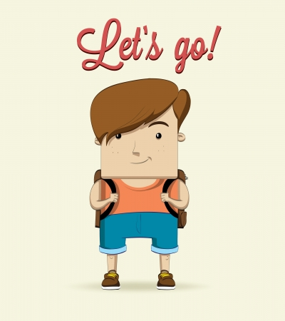 Boy character with bag  Vector illustration