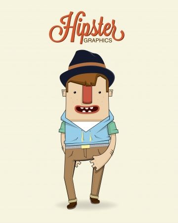 Hipster boy character illustration