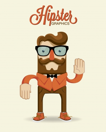 Hipster man character  Vector illustration