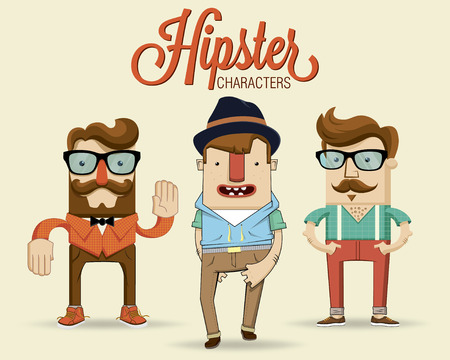 Hipster characters illustration  Vector