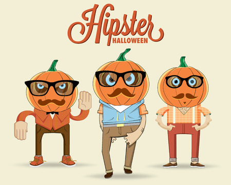 Hipster halloween characters  Vector illustration Illustration