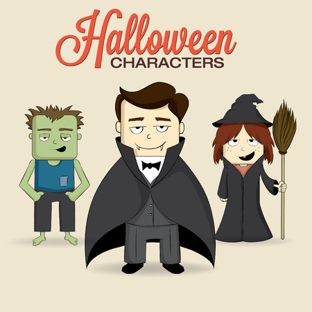 Cute halloween characters Illustration