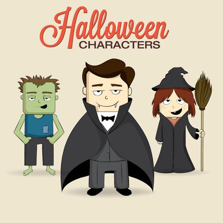Cute halloween characters Illustration