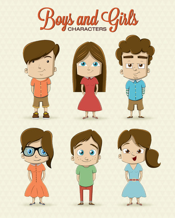 comic characters: Boy and girl character illustration Illustration