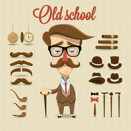 Retro gentleman character illustration
