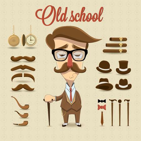 Retro gentleman character illustration