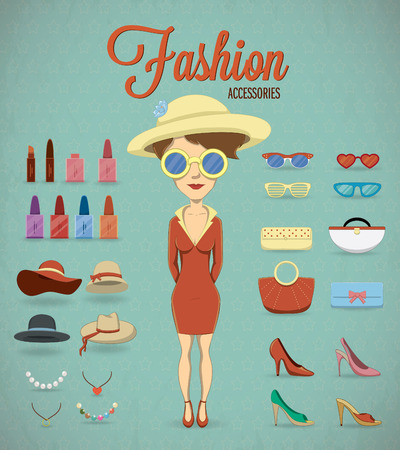 Fashion Woman and accessories illustration Vector