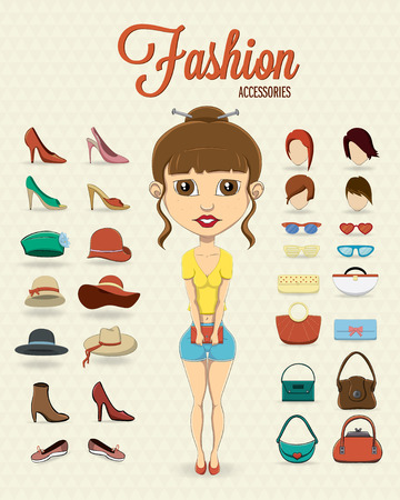 Fashion girl with fashion accessories Illustration