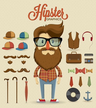 Hipster character design with hipster elements and icons illustration