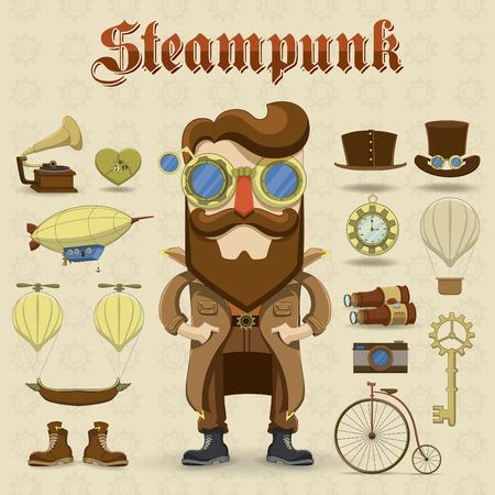 Steampunk character and elements icons