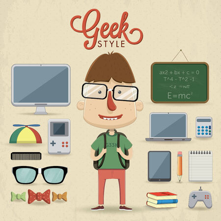 Geek character design illustration Illustration