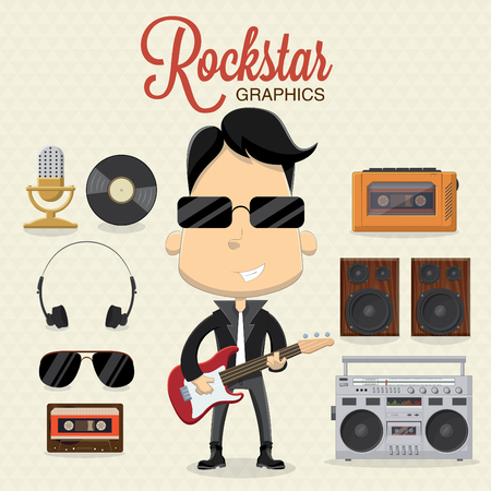 Rock musician character with electric guitar and icons