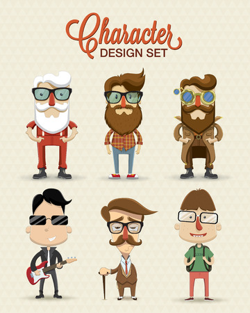 Different type of character illustration Vector