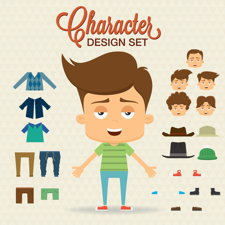hair style set: Cute character design with elements, accessories,clothes   Prepared for animation Illustration