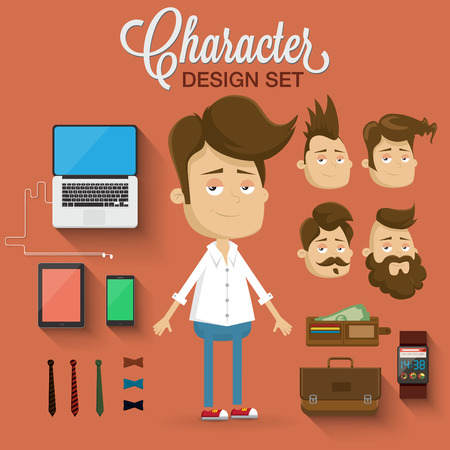 character illustration: Character illustration elements and accessories