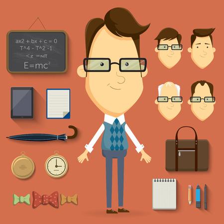personnage: �l�ments et accessoires d'illustration de personnage de dessin anim� enseignant