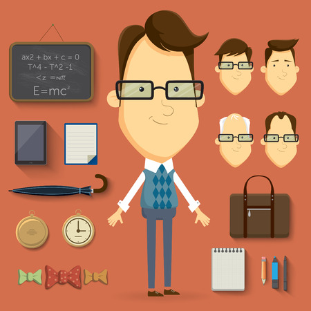 Teacher cartoon character illustration elements and accessories