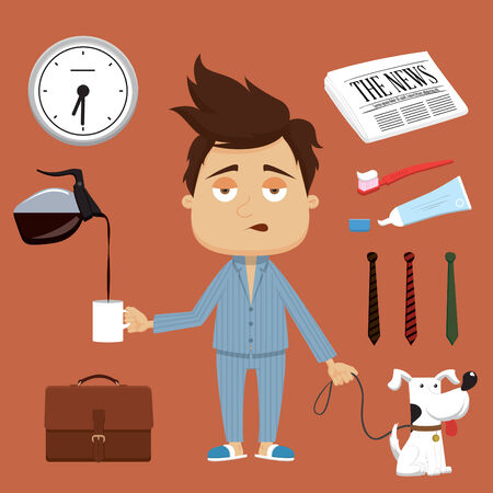 Businessman morning illustration elements and accessories Illustration