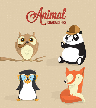 Cute animal characters illustration Vector