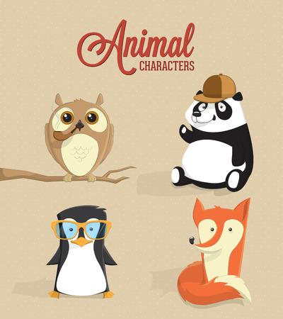 Cute animal characters illustration 向量圖像