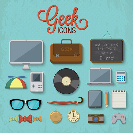 Various geek icons illustration Vector