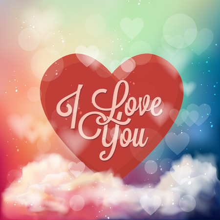 I Love You Typographical Background illustration