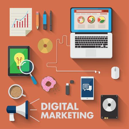 network marketing: Conjunto de elementos de trabajo de negocios de marketing digital Vectores