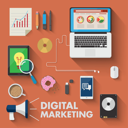 marketing icon: Set of business working elements for digital marketing