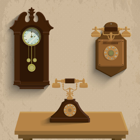 Retro phones and clock Vector